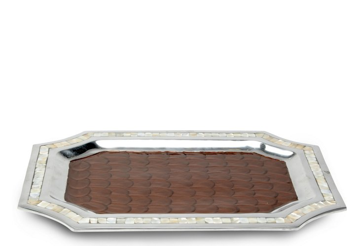 Classic Octagonal Tray, Chocolate