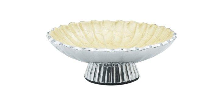 Peony Pedestal Bowl, Cream