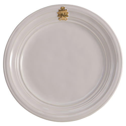 "11"" Acanthus Dinner Plate, White/Gold"