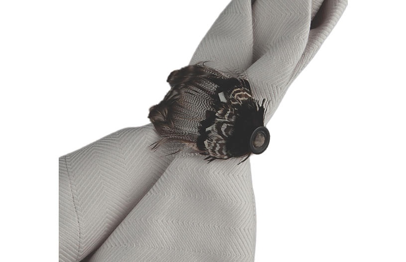 Feather Dinner Napkin Ring, Espresso