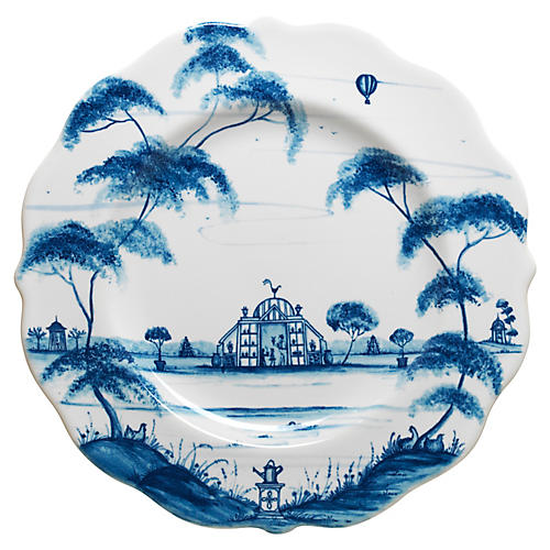 Country Estate Dessert Plate, Delft Blue