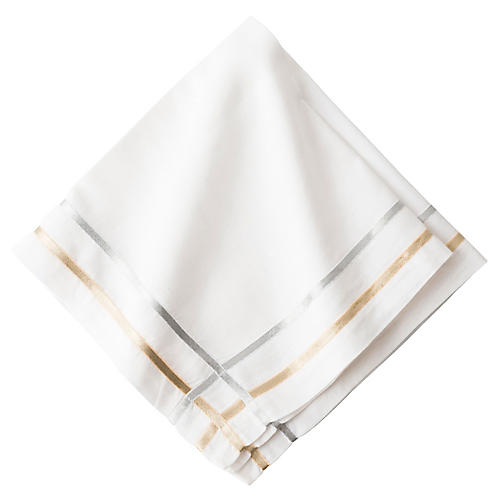 Lattice Ribbon Napkin, White/Multi