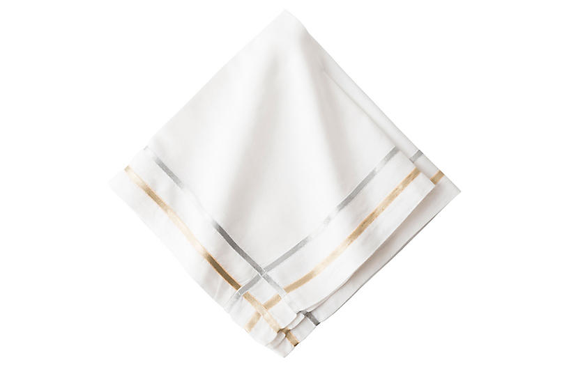 Lattice Ribbon Napkin, White/Multi
