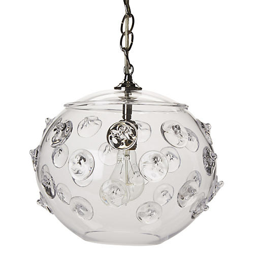 Florence Globe Pendant, Brushed Nickel