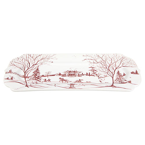 Country Estate Winter Hostess Tray, Ruby/White