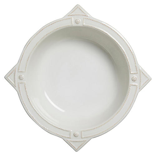 B&T French Panel Serving Bowl, Whitewash