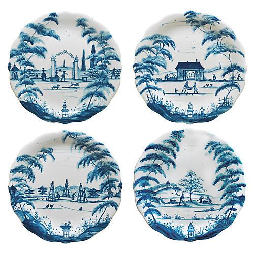 S/4 Spring Gardening Plates, Delft Blue