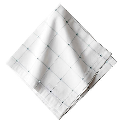Eyelet Windowpane Napkin, Ice Blue