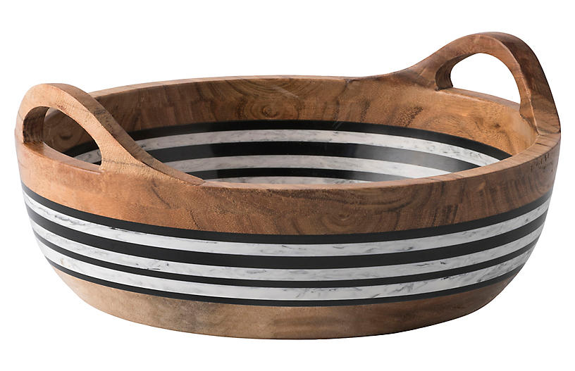 Stonewood Stripe Two-Handle Serving Bowl