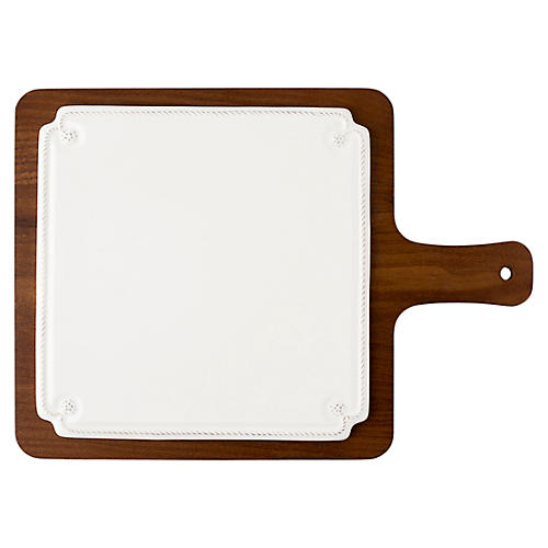 Berry & Thread Serving Board, White/Brown