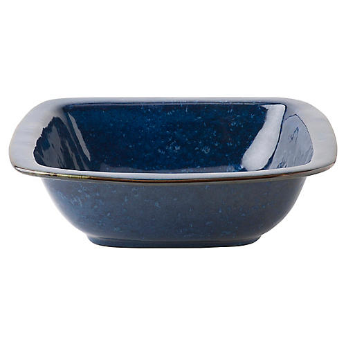 Puro Dappled Square Serving Bowl, Cobalt
