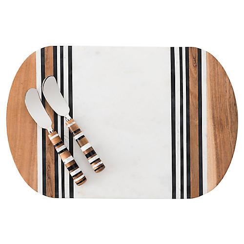 Asst. of 3 Stonewood Board Set, White/Multi