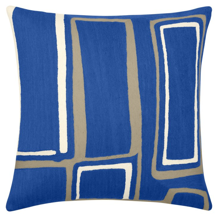 Procession 18x18 Pillow, Marine Blue