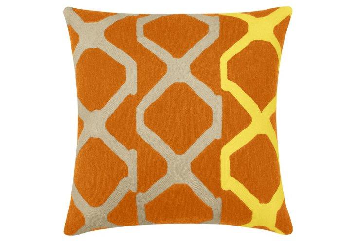 Arbor 18x18 Wool Pillow, Orange