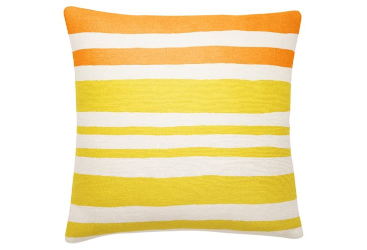 Stripe 18x18 Embroidered Pillow, Yellow