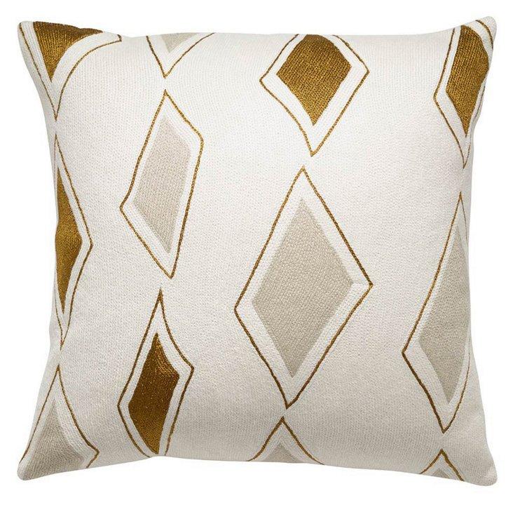 Cascade 18x18 Embroidered Pillow, Cream