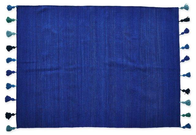 5'x7' Blue Pompom Flat-Weave Rug, Navy