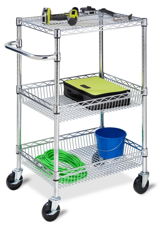 3-Tier Chrome Rolling Cart