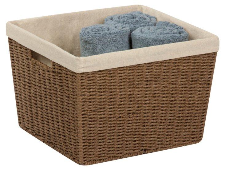 Parchment Cord Basket w/ Liner, Brown