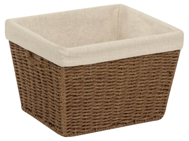 Parchment Cord Basket w/ Liner, Brown