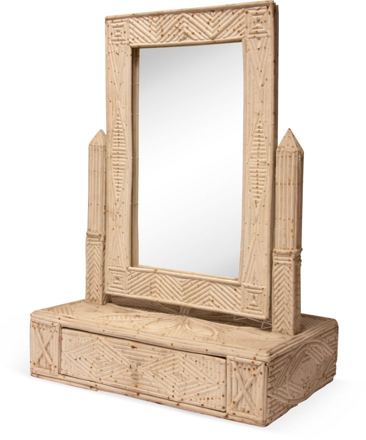 White Bamboo Dressing Table Mirror