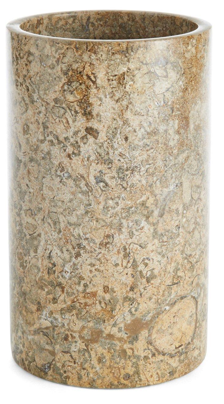 """7"""" Limestone Vase, Taupe"""