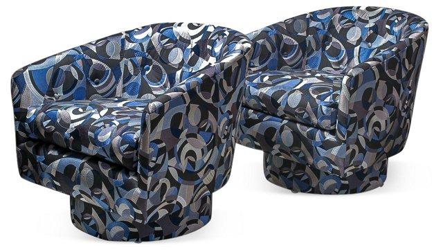 Milo Baughman-Style Swivel Chairs, Pair