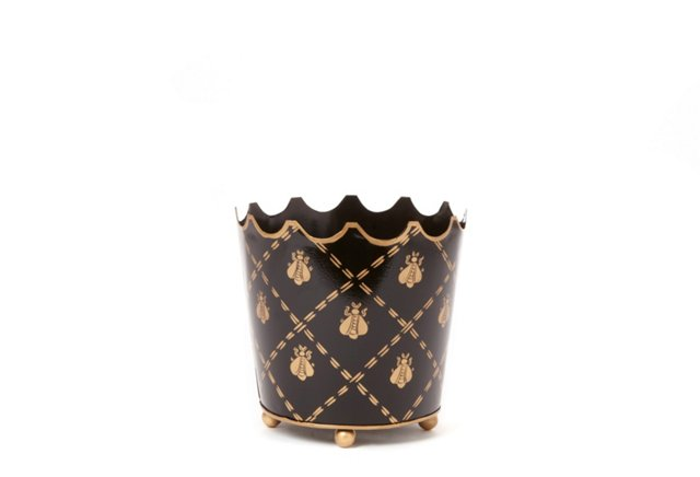 French Bee Crown Cachepot, Black