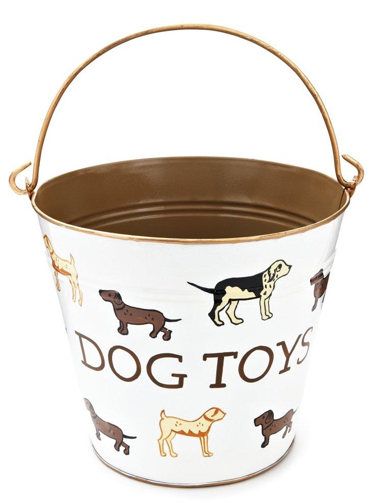 "Kennel Club ""Dog Toys"" Pail, Cream/Brown"