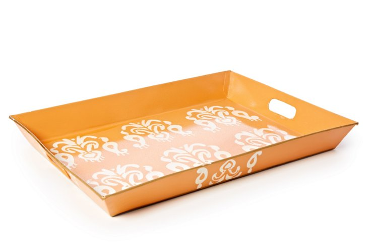 Rectangular Serving Tray, Ikat Orange