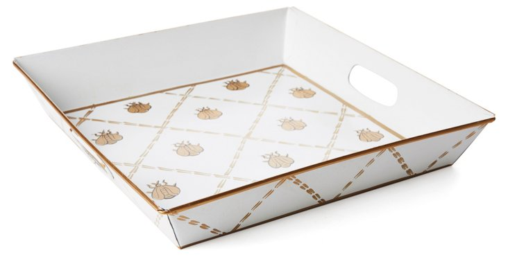 "12"" Square Tray, Cream French Bee"