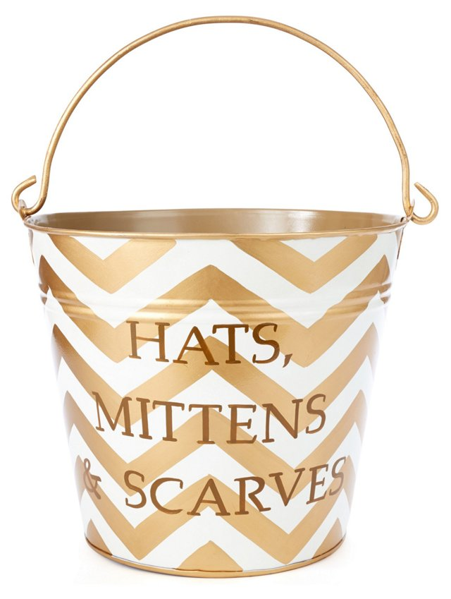 Hats, Mittens & Scarves Pail, Gold