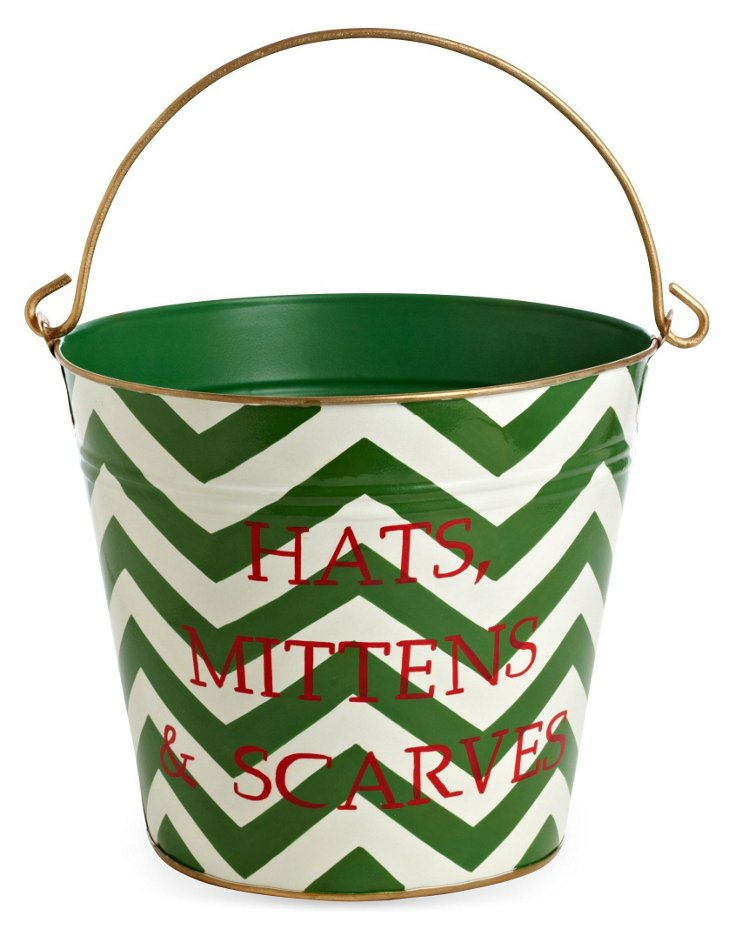 Hats, Mitts, Scarves Pail, Chevron Green