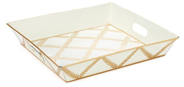 "12"" Square Tray, Cream Leaf Lattice"