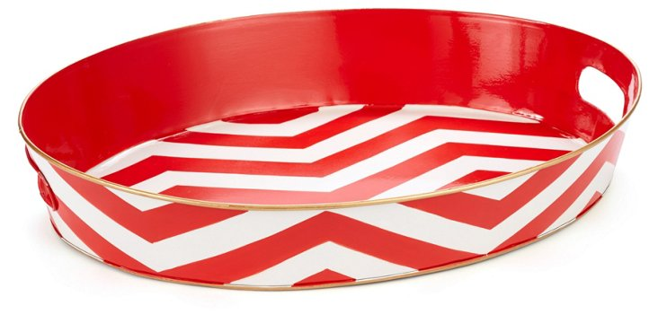 """20"""" Oval Tray, Red Chevron"""
