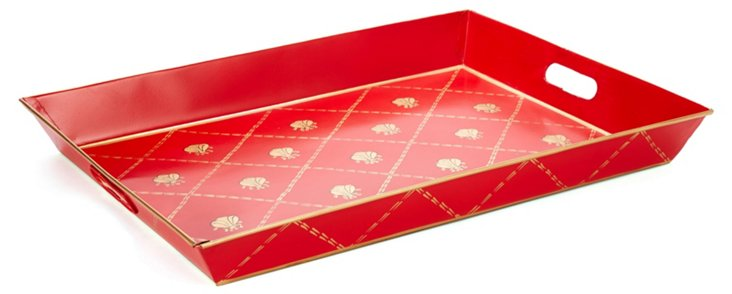 "19"" Rectangular Tray, Red French Bee"