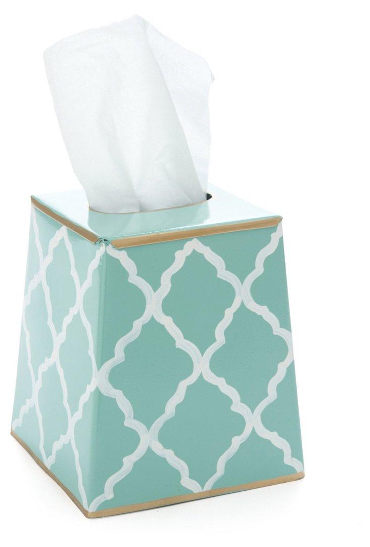 Tissue Box Cover, Madeline Aqua