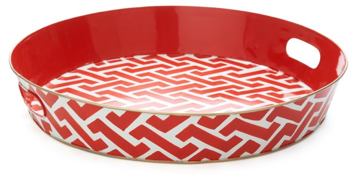 "20"" Ottoman Serving Tray, Molly Coral"