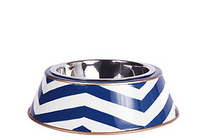 Chevron Dog Bowl, Navy