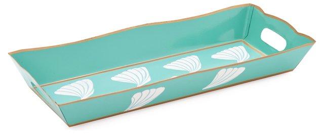 Rectangular Vanity Tray, Shells Aqua