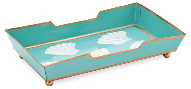 Guest Towel Tray, Shells Aqua