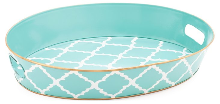 Round Serving Tray, Madeline Aqua