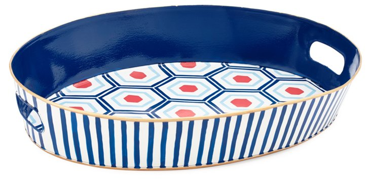 Round Serving Tray, Hudson Blue