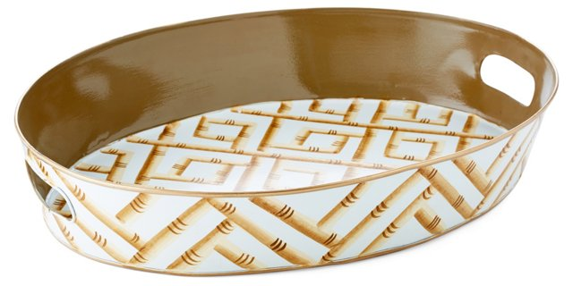 "20"" Oval Tray, Cream Bamboo"