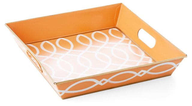 "12"" Square Tray, Tangerine Kate"