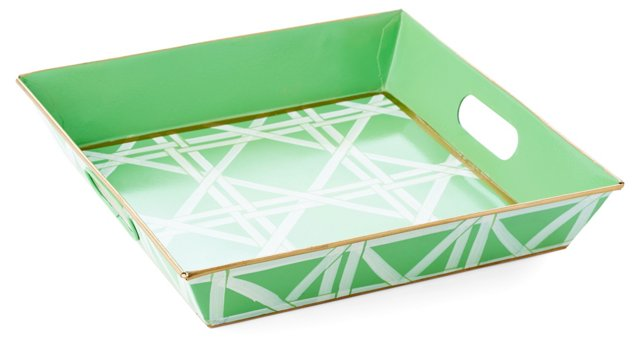 Square Tray, Cane Green