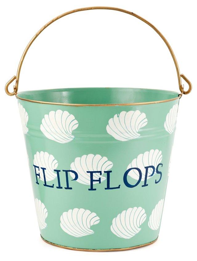 """13"""" Flip Flops Shells Bin, Aqua"""