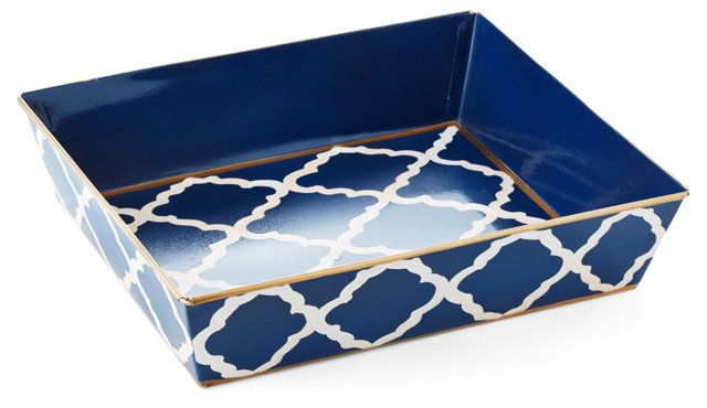 """14"""" Letter Tray, Navy Madeline"""