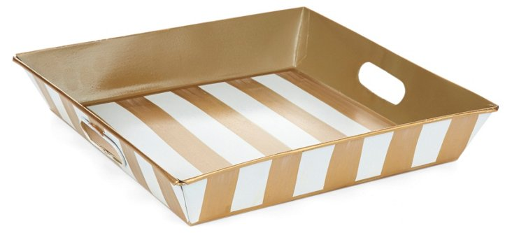 "12"" Square Tray, Ivory Stripe"