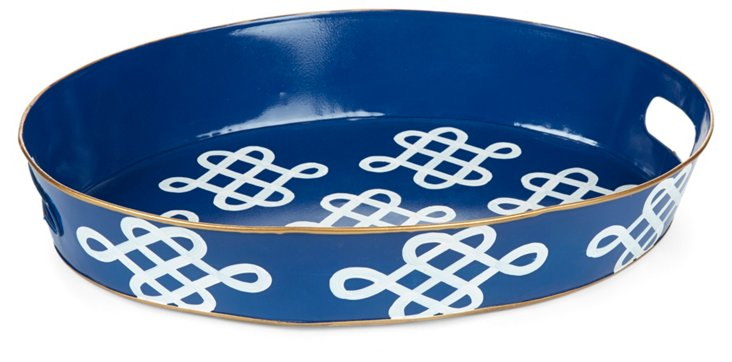 "20"" Oval Tray, Love Knot Navy"